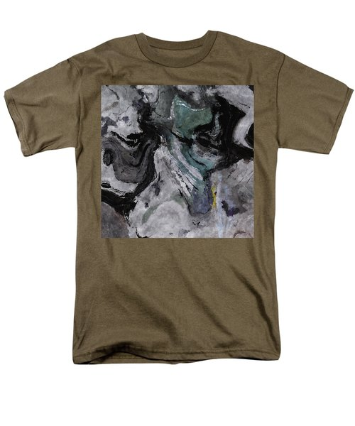 Men's T-Shirt  (Regular Fit) featuring the painting Abstract And Minimalist Acryling Painting In Gray Color by Ayse Deniz