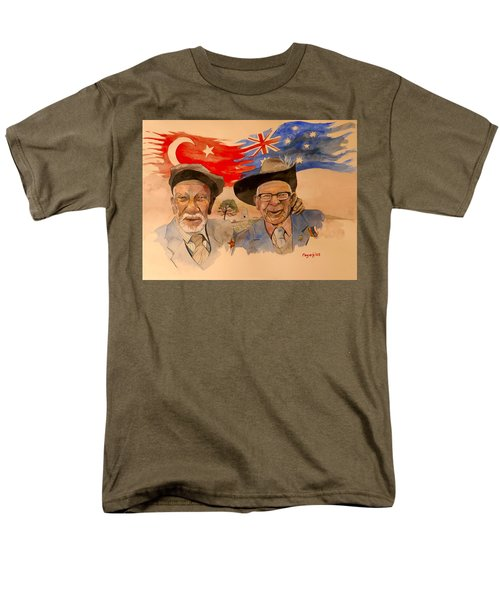 Men's T-Shirt  (Regular Fit) featuring the painting Adil Sahin And Len Hall by Ray Agius