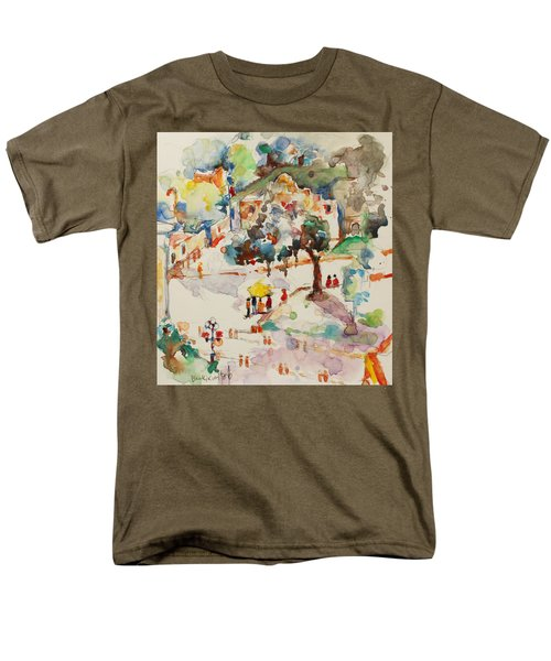 Men's T-Shirt  (Regular Fit) featuring the painting Alamo From Hotel Window by Becky Kim
