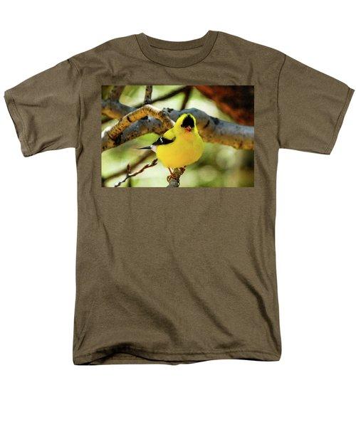 American Goldfinch On Aspen Men's T-Shirt  (Regular Fit) by Marilyn Burton