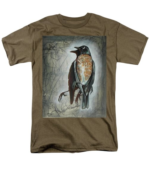 Men's T-Shirt  (Regular Fit) featuring the mixed media American Robin by Sheri Howe