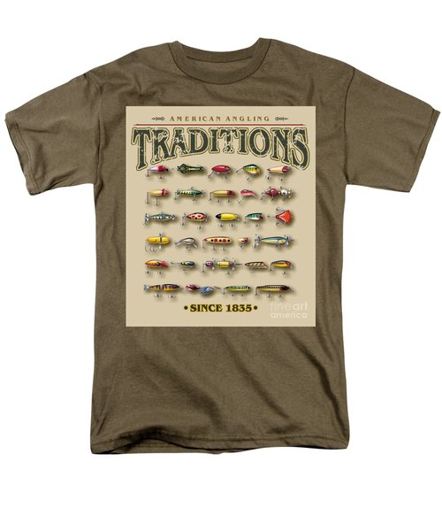 Men's T-Shirt  (Regular Fit) featuring the painting American Traditions Lures by JQ Licensing Jon Q Wright