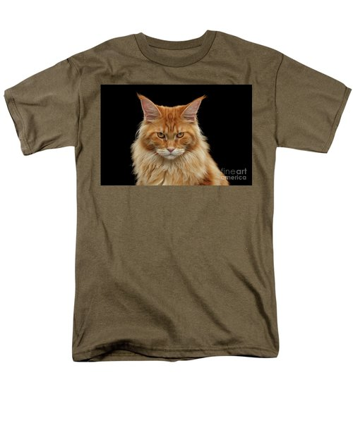 Angry Ginger Maine Coon Cat Gazing On Black Background Men's T-Shirt  (Regular Fit) by Sergey Taran