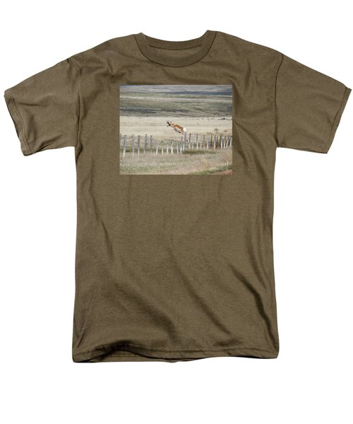 Men's T-Shirt  (Regular Fit) featuring the photograph Antelope Jumping Fence 2 by Rebecca Margraf