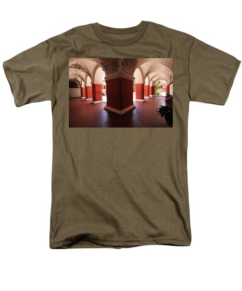 Men's T-Shirt  (Regular Fit) featuring the photograph Archway Paintings At Santa Catalina Monastery by Aidan Moran