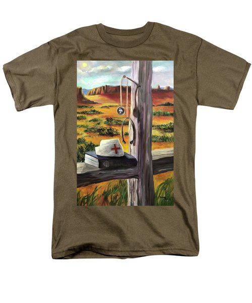 Men's T-Shirt  (Regular Fit) featuring the painting Arizona The Nurse And Hope by Randol Burns