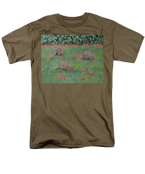 Men's T-Shirt  (Regular Fit) featuring the painting Armadillos In The Yard by Hilda and Jose Garrancho