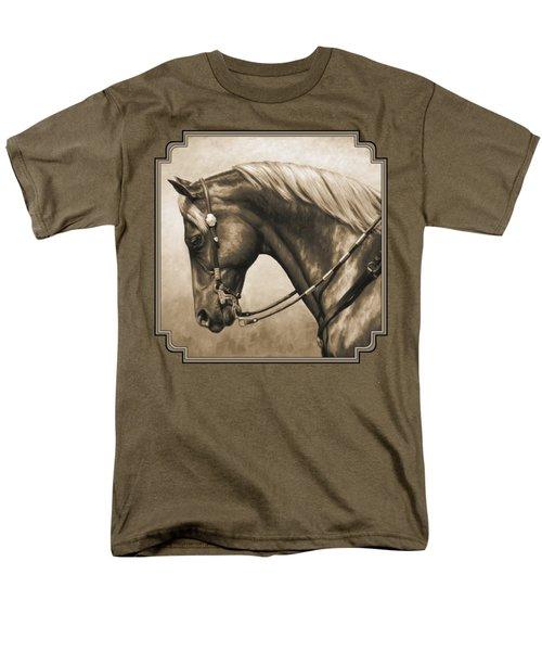 Western Horse Painting In Sepia Men's T-Shirt  (Regular Fit)