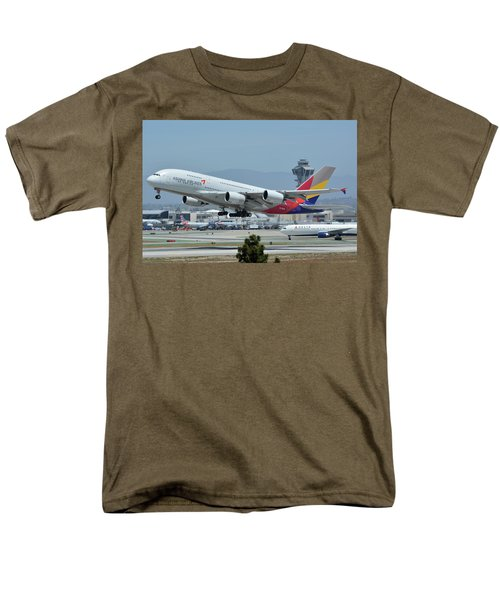 Men's T-Shirt  (Regular Fit) featuring the photograph Asiana Airbus A380-800 Hl7626 Los Angeles International Airport May 3 2016 by Brian Lockett