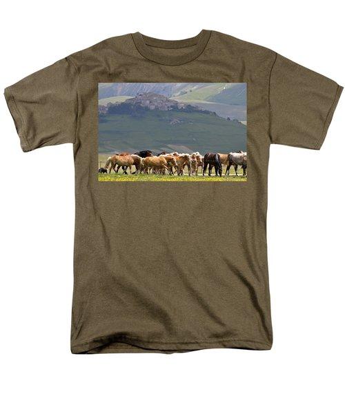 Men's T-Shirt  (Regular Fit) featuring the photograph Castelluccio Di Norcia, Parko Nazionale Dei Monti Sibillini, Italy by Dubi Roman