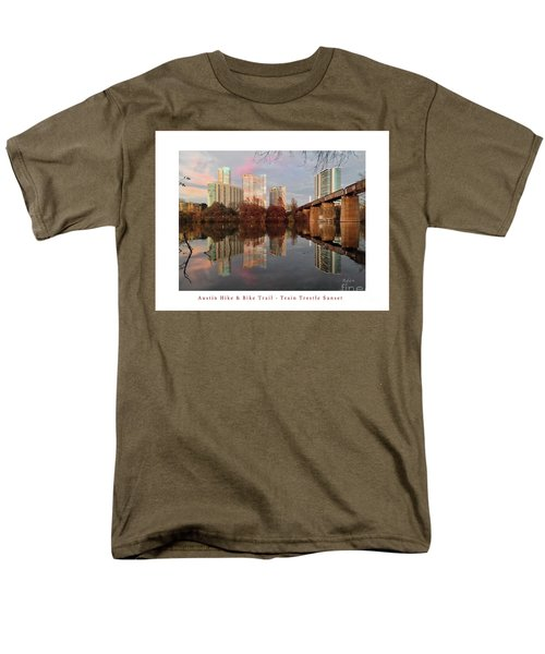 Austin Hike And Bike Trail - Train Trestle 1 Sunset Left Greeting Card Poster - Over Lady Bird Lake Men's T-Shirt  (Regular Fit) by Felipe Adan Lerma