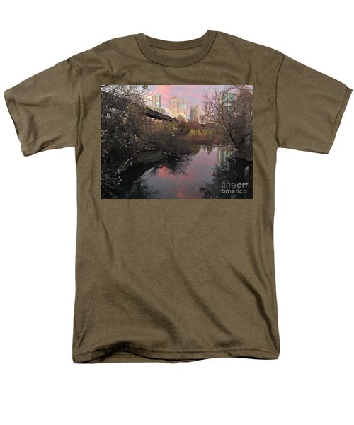 Austin Hike And Bike Trail - Train Trestle 1 Sunset Triptych Right Men's T-Shirt  (Regular Fit) by Felipe Adan Lerma