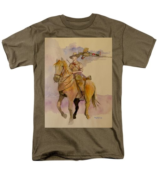 Men's T-Shirt  (Regular Fit) featuring the painting Australian Light Horse Regiment. by Ray Agius