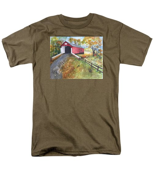 Men's T-Shirt  (Regular Fit) featuring the painting Autumn Afternoon At Knechts Covered Bridge by Lucia Grilletto