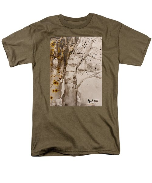 Men's T-Shirt  (Regular Fit) featuring the painting Autumn Human Face Tree by AmaS Art