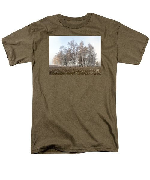 Autumn Landscape In A Birch Forest With Fog Men's T-Shirt  (Regular Fit) by Odon Czintos