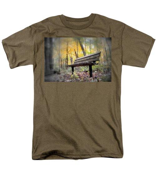 Autumn Park Bench Men's T-Shirt  (Regular Fit) by Bonfire Photography