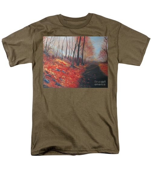 Men's T-Shirt  (Regular Fit) featuring the painting Autumns Pathway by Leslie Allen