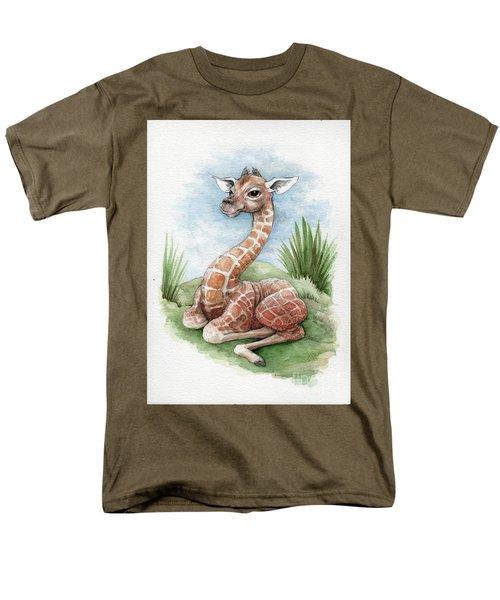 Baby Giraffe Men's T-Shirt  (Regular Fit) by Lora Serra