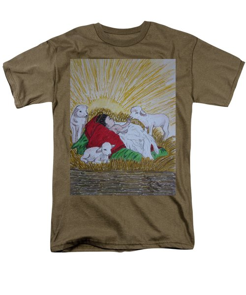 Men's T-Shirt  (Regular Fit) featuring the painting Baby Jesus At Birth by Kathy Marrs Chandler