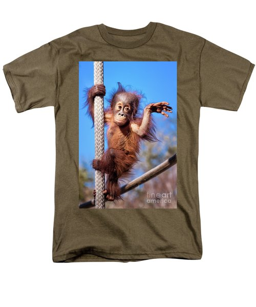 Baby Orangutan Climbing Men's T-Shirt  (Regular Fit) by Stephanie Hayes