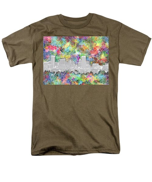 Men's T-Shirt  (Regular Fit) featuring the painting Baltimore Skyline Watercolor 12 by Bekim Art