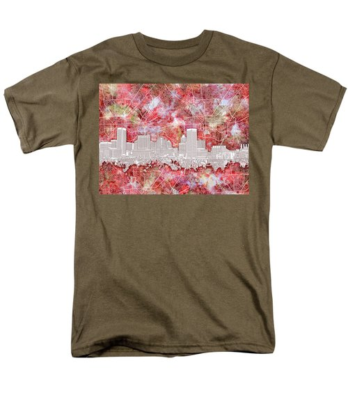 Men's T-Shirt  (Regular Fit) featuring the painting Baltimore Skyline Watercolor 13 by Bekim Art