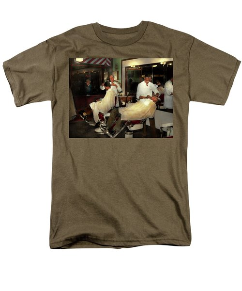 Men's T-Shirt  (Regular Fit) featuring the photograph Barber - A Time Honored Tradition 1941 by Mike Savad