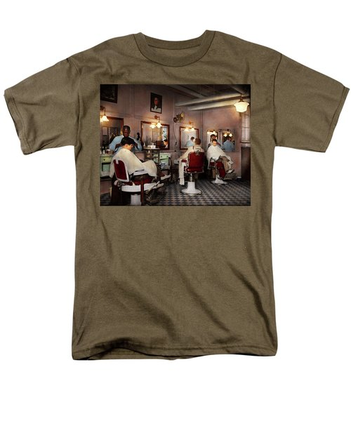 Men's T-Shirt  (Regular Fit) featuring the photograph Barber - Senators-only Barbershop 1937 by Mike Savad