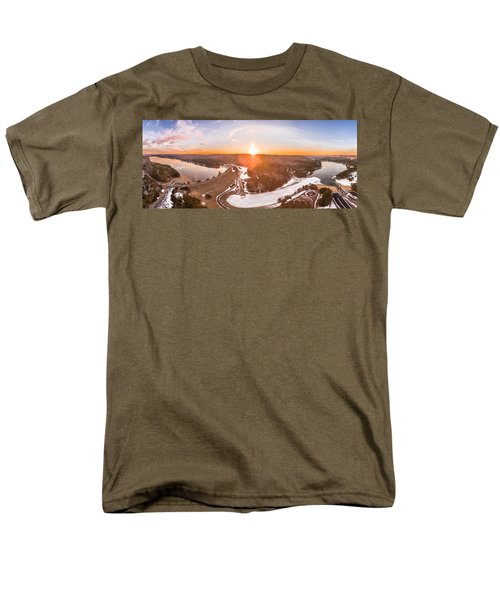 Barkhamsted Reservoir And Saville Dam In Connecticut, Sunrise Panorama Men's T-Shirt  (Regular Fit) by Petr Hejl