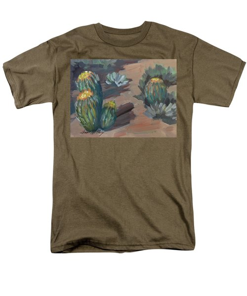 Men's T-Shirt  (Regular Fit) featuring the painting Barrel Cactus At Tortilla Flat by Diane McClary