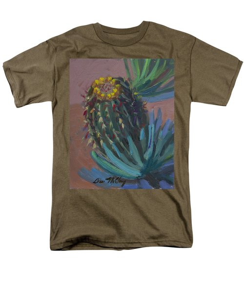 Barrel Cactus In Bloom - Boyce Thompson Arboretum Men's T-Shirt  (Regular Fit) by Diane McClary