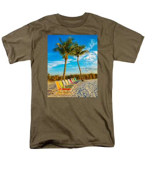Beach Lounges Under Palms Men's T-Shirt  (Regular Fit) by Robert FERD Frank