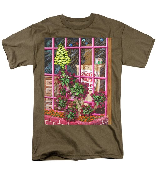 Men's T-Shirt  (Regular Fit) featuring the painting Beach Side Storefront Window by Katherine Young-Beck