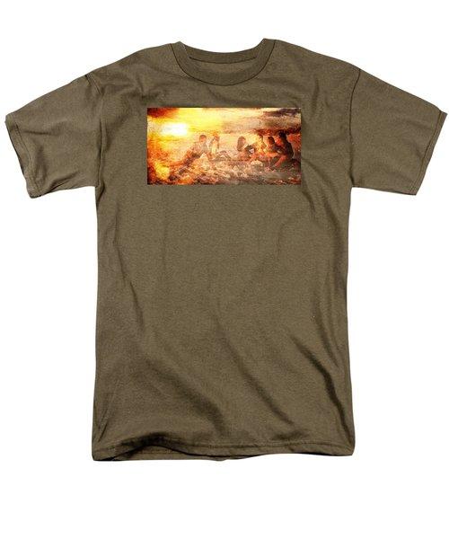 Men's T-Shirt  (Regular Fit) featuring the digital art Beach Sunset With Friends by Andrea Barbieri