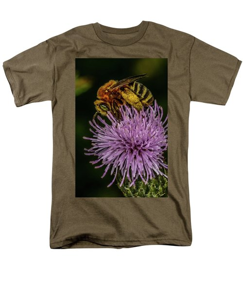 Men's T-Shirt  (Regular Fit) featuring the photograph Bee On A Thistle by Paul Freidlund