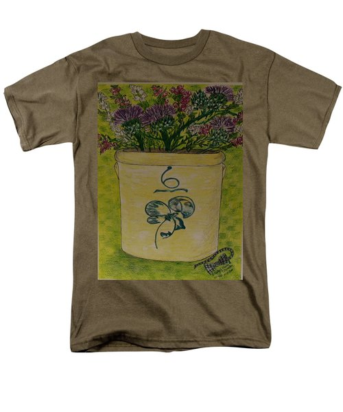 Men's T-Shirt  (Regular Fit) featuring the painting Bee Sting Crock With Good Luck Bow Heather And Thistles by Kathy Marrs Chandler