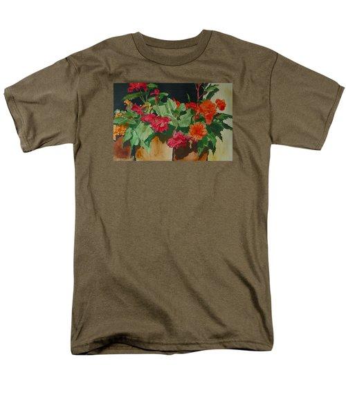 Begonias Flowers Colorful Original Painting Men's T-Shirt  (Regular Fit) by Elizabeth Sawyer