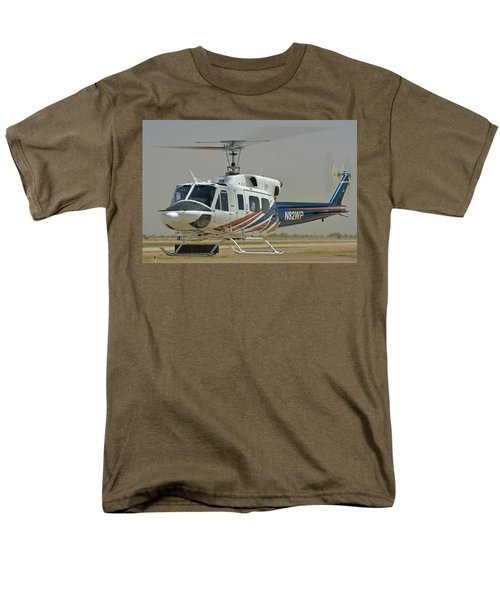 Men's T-Shirt  (Regular Fit) featuring the photograph Bell 212 N82wp Phoenix-mesa Gateway Airport Arizona April 15 2016 by Brian Lockett
