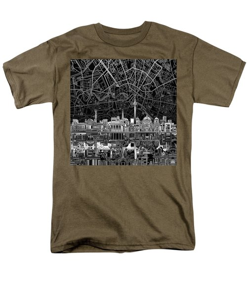 Berlin City Skyline Abstract 4 Men's T-Shirt  (Regular Fit) by Bekim Art
