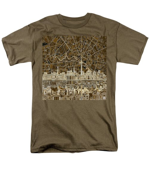 Berlin City Skyline Abstract Brown Men's T-Shirt  (Regular Fit) by Bekim Art
