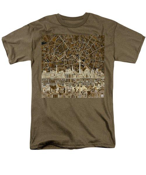 Berlin City Skyline Abstract Brown Men's T-Shirt  (Regular Fit) by Bekim Art