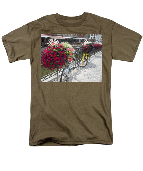 Men's T-Shirt  (Regular Fit) featuring the photograph Bike And Flowers by Therese Alcorn