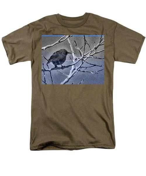 Bird In Digital Blue Men's T-Shirt  (Regular Fit) by Lenore Senior