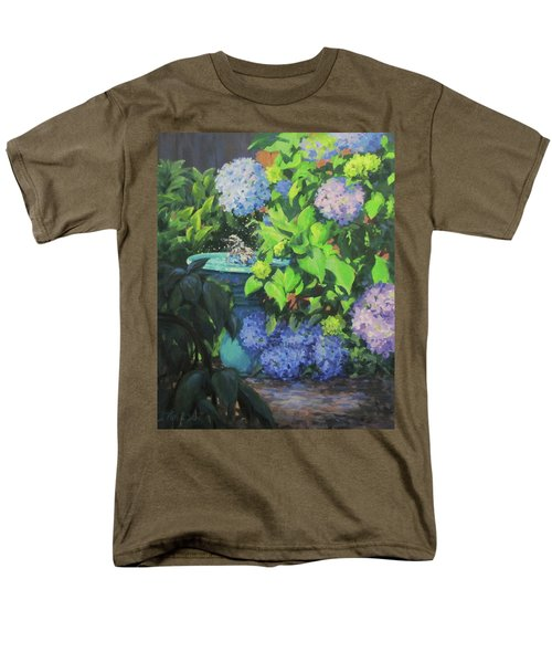 Men's T-Shirt  (Regular Fit) featuring the painting Birdbath And Blossoms by Karen Ilari
