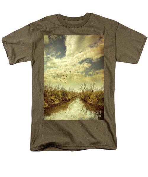 Men's T-Shirt  (Regular Fit) featuring the photograph Birds Flying Over A River by Jill Battaglia