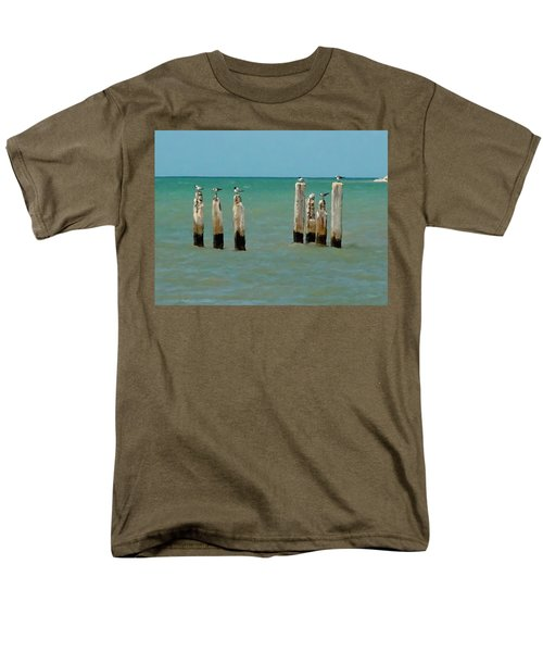 Men's T-Shirt  (Regular Fit) featuring the painting Birds On Sticks by David  Van Hulst
