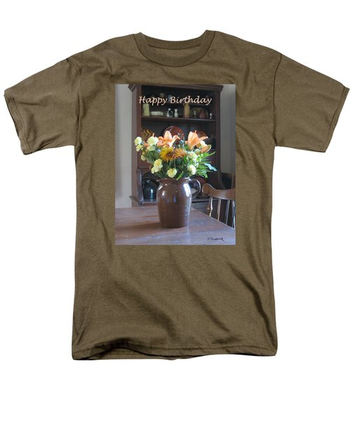 Birthday Jug Of Flowers Men's T-Shirt  (Regular Fit) by Deborah Dendler