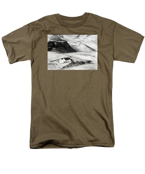Black And White House And Hills Men's T-Shirt  (Regular Fit)