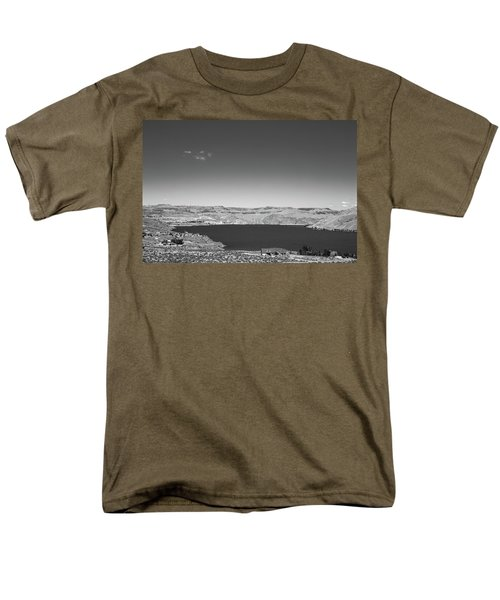 Black And White Landscape Photo Of Dry Glacia Ancian Rock Desert Men's T-Shirt  (Regular Fit) by Jingjits Photography